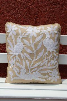 OVERSIZED Tan and white Linen Otomi Lumbar Pillow by CasaOtomi