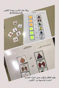 c5b32936d56be ورقة عمل تناسب وحدة الملابس يقوم الطفل بتركيب صور أجزاء الجسم أمام ما  يناسبها من الملابس