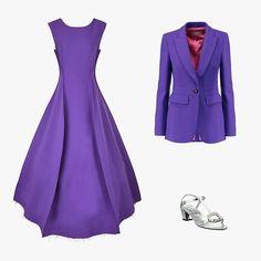 Natasha Zinko purple double-faced shift gown, $594, avenue32.com; Emilio Pucci wool-blend crepe blazer, $724, theoutnet.com; Roger Vivier Chips crystal-buckle metallic leather T-strap sandals, $1,050, saksfifthavenue.com
