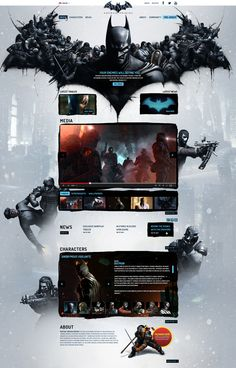Design & Development for various versions of the Batman: Arkham Origins marketing site. Website Design Layout, Wordpress Website Design, Web Layout, Layout Design, Web Design Examples, Web Ui Design, Page Design, Website Design Inspiration, Graphic Design Inspiration