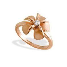 Rose Gold Plumeria Diamond Ring - Rings - Jewelry Type