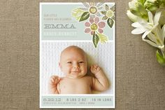Heirloom Bloom Birth Announcements