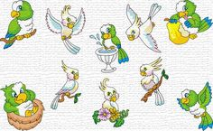 Free Embroidery Designs, Sweet Embroidery, Designs Index Page    Parrots