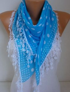 Blue White Polka Dot Scarf Fall Accessories Cotton by fatwoman