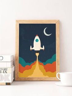 Space to print spaceship art nursery nursery wall decor retro nursery vintage nursery canvases kids room decor artwork Kids Wall Decor, Nursery Wall Decor, Art Wall Kids, Wall Art Decor, Art For Kids, Nursery Room, Nursery Artwork, Artwork Wall, Boy Room