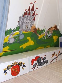 Castle and fortress kids' playroom, bedroom. Knight boys' bedroom. Hand painted furniture, boxes. Wall mural for boys room. #castle #fortress #playroom #bedroom #knight #boysBedroom #handPaintedFurniture #wallmural
