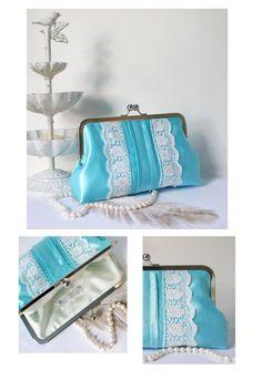 #sale #christmas Romantic Pleated Clutch Purse with Lace Trims Aqua by tbtcwedding, $50.00