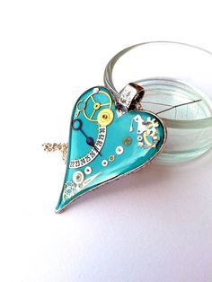 Steampunk Resin Pendant with Vintage Watch by EmilyRayAccessories