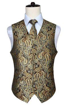 Hisdern Men's Classic Paisley Floral Jacquard Waistcoat&Necktie and Pocket Square Vest Suit Set, XS(Chest Gold Waistcoat Men, Mens Suit Vest, Mens Suits, Wedding Vest, Wedding Suits, Party Wedding, Wedding Waistcoats, Gold Vests, Men's Vests