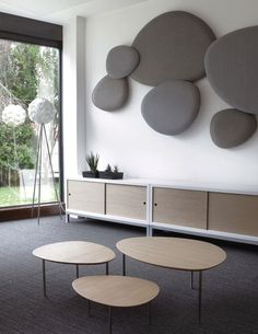 A New Design From Jon Gasca, Satellite Acoustic Panels. Also Eclipse Tables  And Sapporo Storage Units All Produced By STUA Design Label From Spain.