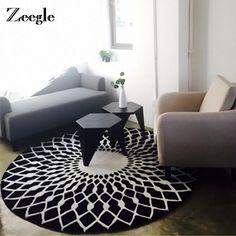Zeegle European Style Carpet For Living Room Black And White Round Welcome Floor Anti-Slip Rug Kids Room Mats