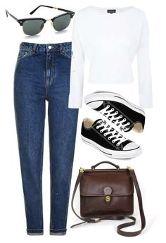 """""""Untitled #6117"""" by rachellouisewilliamson on Polyvore featuring Topshop, Converse and Ray-Ban"""