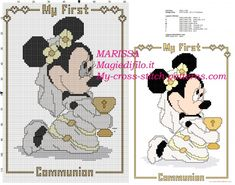free cross stitch pattern minnie mouse my first communion