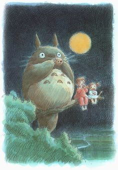 """Miyazaki's """"Totoro"""". One of the greatest movies ever made. This is one of Miyazaki's original concept art watercolors."""