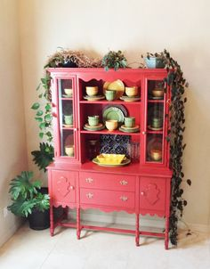 Upcycled  Vintage Rustic Red Shabby Chic Hutch, China Cabinet, Buffet, Pickup in Dallas, Texas