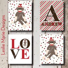 SOCK MONKEY NURSERY - Sock Monkey Wall Art - Polka Dot - Custom Name by LeslieMarieDesigns on Etsy https://www.etsy.com/listing/199555290/sock-monkey-nursery-sock-monkey-wall-art