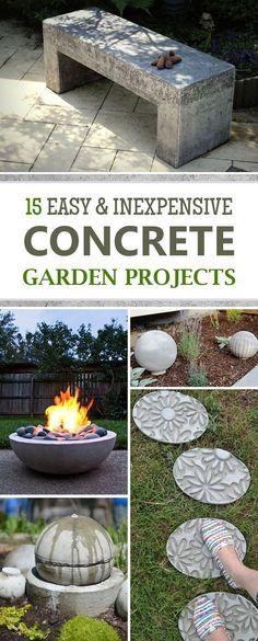 15 Easy and Inexpensive DIY Concrete Garden Projects - DIY Garden Decor Diy Garden Furniture, Concrete Furniture, Diy Garden Projects, Garden Crafts, Diy Garden Decor, Outdoor Projects, Garden Art, Furniture Ideas, Concrete Bench