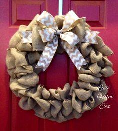 Burlap wreath with white/burlap chevron