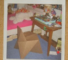 How to make a cardboard chair Cardboard Chair, Cardboard Furniture, Useful Origami, Kids Rugs, Crafts, House, Home Decor, Manualidades, Decoration Home