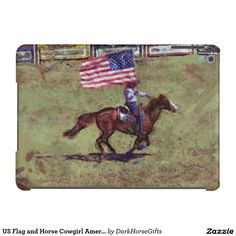US Flag and Horse Cowgirl American Rodeo Art Case For iPad Air and many other Device Case Models