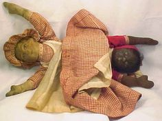 Rare Antique Topsy Turvy Cloth Doll Black 1901 Bruckner Babyland Rag  White & African American Doll Printed Face Orig Clothes