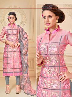 Pink Chanderi Churidar Salwar Suit 87828