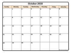 free october 2018 printable calendar page blank calendar templates available on demand