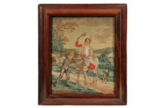 FRAMED STITCHWORK - Regency Period Needlework, wool on silk, circa 1820, a depiction of a young boy calming a burro that has a young lady in her Sunday finest riding on its back, dog alongside, figure with second burr...