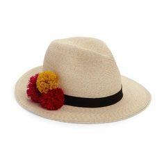 Eugenia Kim Lillian Pom-Pom Fedora ($375) ❤ liked on Polyvore featuring accessories, hats, ivory, pom pom hat, hemp hat, eugenia kim hats, eugenia kim and eugenia kim fedora