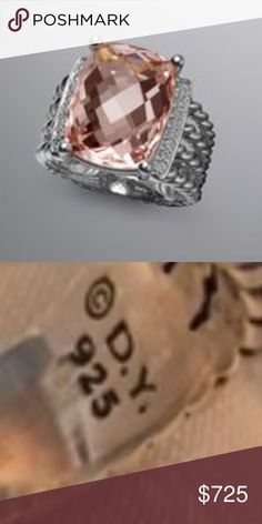 David Yurman DY 925 16x12mm Wheaton morganite Size 7 and mint condition with pouch and box. Authenticity guaranteed. David Yurman Jewelry Rings