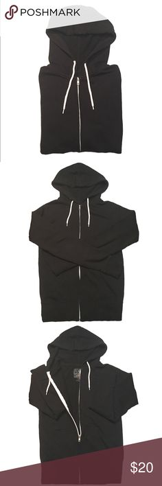 Black Zip Up Hoodie · Full Tilt black zip up hoodie bought from Tilly's. White contrasting zipper and drawstring. Pockets. Baasic and nothing flashy. Worn. Excellent used condition.   · These are photos of the actual item. Please review photos for flaws or signs of wear. I try my best to showcase and represent the true product. Tilly's Tops Sweatshirts & Hoodies