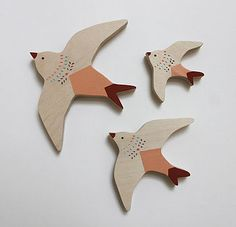 Set Of Three Swallow Wall Birds