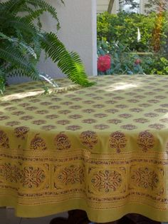 Memories Of Shalimar ~ Green Gold Asian Indian Round Tablecloth 90 Round