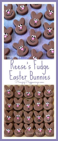These 2 ingredient Reese's Fudge Easter Bunnies are so simple to make in a Wilton Silicone Mold and can be decorated using a few sprinkles and a food coloring marker.
