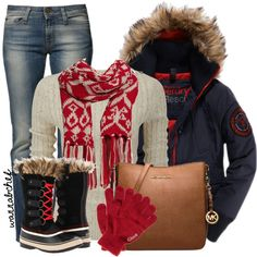 A fashion look from December 2013 featuring cable knit sweater, Superdry and blue jeans. Browse and shop related looks. Cute Comfy Outfits, Cute Winter Outfits, Fall Fashion Outfits, Holiday Outfits, Winter Dresses, I Love Fashion, Womens Fashion, Winter Wear, Autumn Winter Fashion