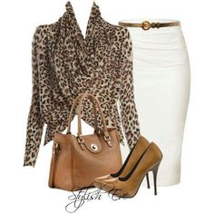 Maybe instead of the shirt with the leopard print, use a smaller piece of the ou… Vielleicht anstelle des Shirts mit Leopardenmuster ein kleineres Teil des Outfits verwenden … Ich liebe Leopardenmuster! Komplette Outfits, Classy Outfits, Fall Outfits, Casual Outfits, Work Fashion, Fashion Looks, Casual Mode, What To Wear, Winter Fashion