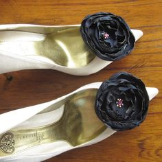 Wedding Party Navy Blue Satin Rose Shoe Clips by Chuletindesigns