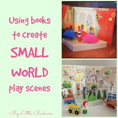 Creating imaginative small worlds is a favourite activity for most kids, and we've recently discovered that the pages and illustrations in our favourite picture books can really help to add character and setting to our small world play. Sensory Bins, Sensory Play, Activities For Kids, Small World Play, Early Literacy, Dramatic Play, Play To Learn, Imaginative Play, Games