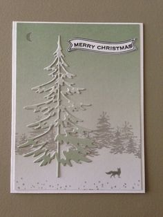 Tim Holtz Woodlands tree die, Impression Obsession Brush Tree Line, Stampin' Up Jingle All theWay, banner by Hero Arts.