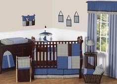 Dillan Plaid and Denim Baby Bedding - 9pc Crib Set by Sweet Jojo Designs