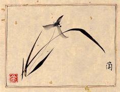 japanese brush painting of wild orchid | chinese orchid painting