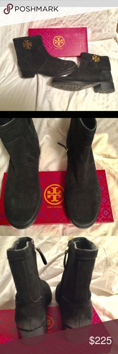 Tory Burch Boots Suede boots, with 6 inch shaft.  Only worn a couple of times, like new.  Says it is a size 10, but runs 1/2 size small. Tory Burch Shoes Ankle Boots & Booties