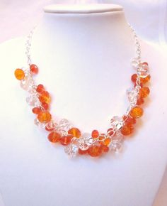 Cluster Crystal Necklace Clear and Orange Glass Crystals