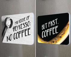 #fridgemagnets #magnets COFFEE Double Sided Fridge Reminder Magnet. Funny Quotes Remind You Too Fill Coffee Supplies. by BetterMagnets