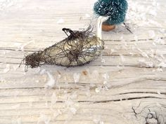 Antique Victorian Wired Wrapped Swan Blown Glass Ornament