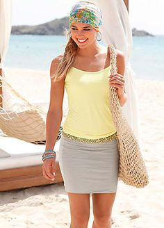 Beachtime Yellow & Sand Summer Dress
