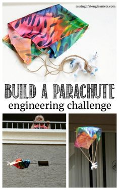 If your kids love building and discovering, they will love this parachute engineering challenge. Try to build a parachute that works! STEM, hands on learning homeschool or classroom bfranklin. Science Activities For Kids, Science For Kids, Preschool Activities, Science Books, Computer Science, Stem Projects, Science Projects, Projects For Kids, Engineering Projects