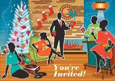 Mid Century Modern Friends Holiday Party Invitations features a modern home as a cheerful holiday scene. Friends enjoy playing records (old school style), mixing cocktails and celebrating. Modern furniture, groovy fashions and a hip holiday decor will spread holiday fun to whomever receives this ultra cool invitation. Personalize this vintage style Holiday Party invitation with your own greeting and special message.