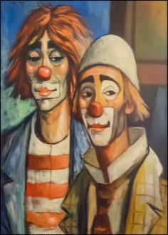 La-D-eus-Clowns-Canvas-Front Es Der Clown, Le Clown, Clown Faces, Creepy Clown, Pierrot, Mime, Clown Paintings, Send In The Clowns, Clowning Around