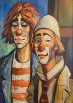 La-D-eus-Clowns-Canvas-Front Es Der Clown, Le Clown, Clown Faces, Creepy Clown, Pierrot, Clown Paintings, Send In The Clowns, Small Paintings, City Art